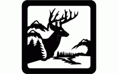 Deer Sitting Scene Free DXF File