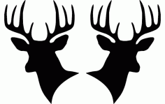 Two Deer Heads Silhouette Free DXF File