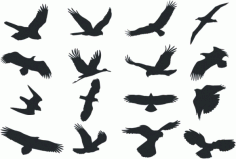 Collection Of Bird Silhouette Free DXF File