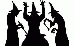 Halloween Witch Cooking Silhouette Free DXF File