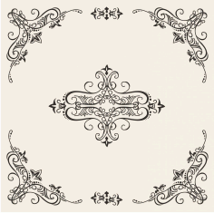 Retro Floral Frame Free DXF File