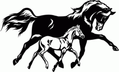 Running Horse With Foal Colt Free DXF File