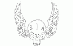 Wing Skull Free DXF File