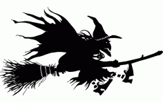 Witch Flying On Broom Silhouette Free DXF File