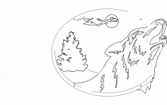 Wolf Oval Scene Free DXF File