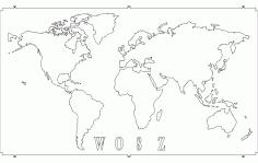 Wosz World Map Free DXF File