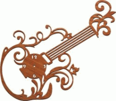 Guitar Clock For Laser Cut Plasma Free CDR Vectors Art