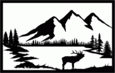 Picture Of Three Mountains In The Forest For Laser Cut Plasma Free CDR Vectors Art