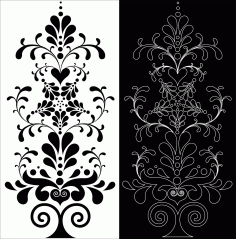 Decorative Floral Pattern Double Free DXF File