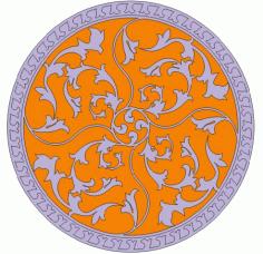 Floral Circular Pattern Free DXF File