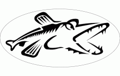 Northern Pike Fish Silhouette Free DXF File