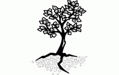 Tree And Roots Silhouette Free DXF File