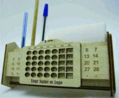 Calendar View Box And Pens For Laser Cut Cnc Free DXF File