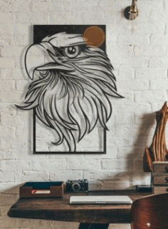 Decorate The eagle's Head In The Room For Laser Cut Cnc Free DXF File