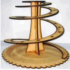 Display Shelves Of Spiral Cakes For Laser Cut Cnc Free DXF File