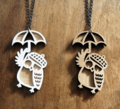 Owl Pendant For Laser Cut Cnc Free DXF File