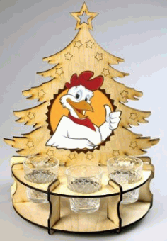 Tray Shaped Pine Tree For Laser Cut Cnc Free DXF File
