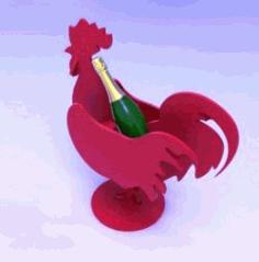 Wine Bottle Holder Rooster For Laser Cut Cnc Free DXF File
