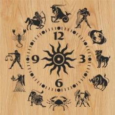 12 Zodiac Clock For Laser Cut Plasma Free CDR Vectors Art
