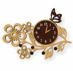 A Butterfly Perched On A Watch For Laser Cut Plasma Free CDR Vectors Art