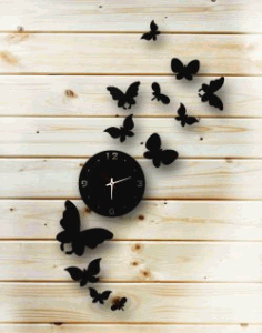 A Flying Butterfly Clock For Laser Cut Plasma Free CDR Vectors Art
