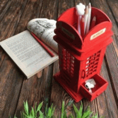 British Phone Booth Pencil Holder For Laser Cut Cnc Free CDR Vectors Art