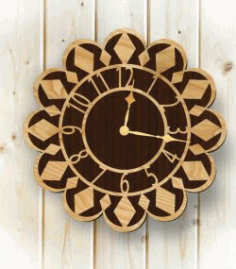 Clock Shaped Sunflower For Laser Cut Plasma Free CDR Vectors Art