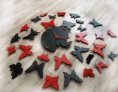 Diy Modern Butterfly Wall Clock For Laser Cut Cnc Free CDR Vectors Art
