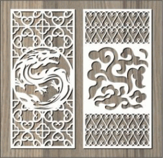Dragon And Cloud Pattern For Laser Cut Cnc Free CDR Vectors Art