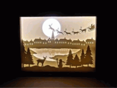 Electric Paintings Of Old Man Snow And Reindeer Herd For Laser Cut Cnc Free CDR Vectors Art
