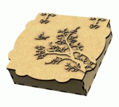 Gift Box Shaped Apricot Tree For Laser Cut Cnc Free CDR Vectors Art