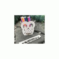 Owl Desk Organizer Pencil Holder Free DXF File