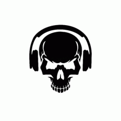 Skull With Headphones Free DXF File