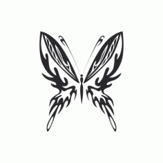 Tribal Butterfly Art 23 Free DXF File