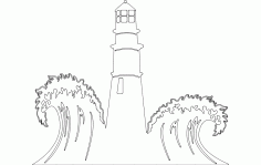 Lighthouse With Waves Scenery Free DXF File