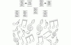 Notes Music Free DXF File