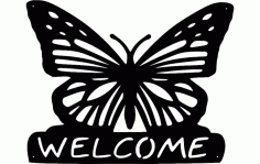 Silhouette Butterfly Welcome Free DXF File