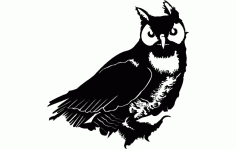 Silhouette Of Owl Free DXF File