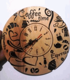 Coffee Wall Clock For Laser Cut Cnc Free DXF File