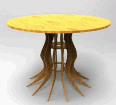 Wooden Round Dining Table For Laser Cut Cnc Free DXF File