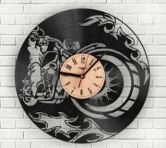 Motorcycle Wall Clock For Laser Cut Cnc Free DXF File