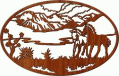 Picture Of Two Horses In The Field For Laser Cut Cnc Free DXF File