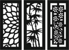 Sample Baffle Of Flowers And Bamboo For Laser Cut Cnc Free DXF File