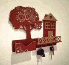 Key Hanger Shaped House And Tree For Laser Cut Cnc Free DXF File