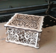 Rose Wood Box For Laser Cut Free DXF File