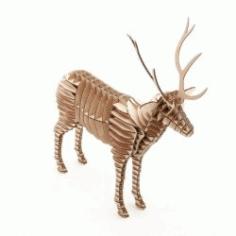 3d Deer Assembly Model For Laser Cut Cnc Free CDR Vectors Art