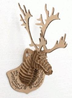 3d Deer Head For Laser Cut Free CDR Vectors Art