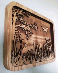 A Picture Of Two Storks For Laser Cut Cnc Free CDR Vectors Art
