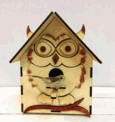 Bird House Shaped Like An Owl For Laser Cut Cnc Free CDR Vectors Art