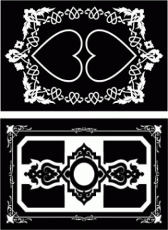 Decorative Frame With Heart Motifs For Laser Cut Cnc Free CDR Vectors Art